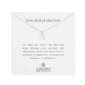 Dogeared Heart Hamsa Silver Necklace